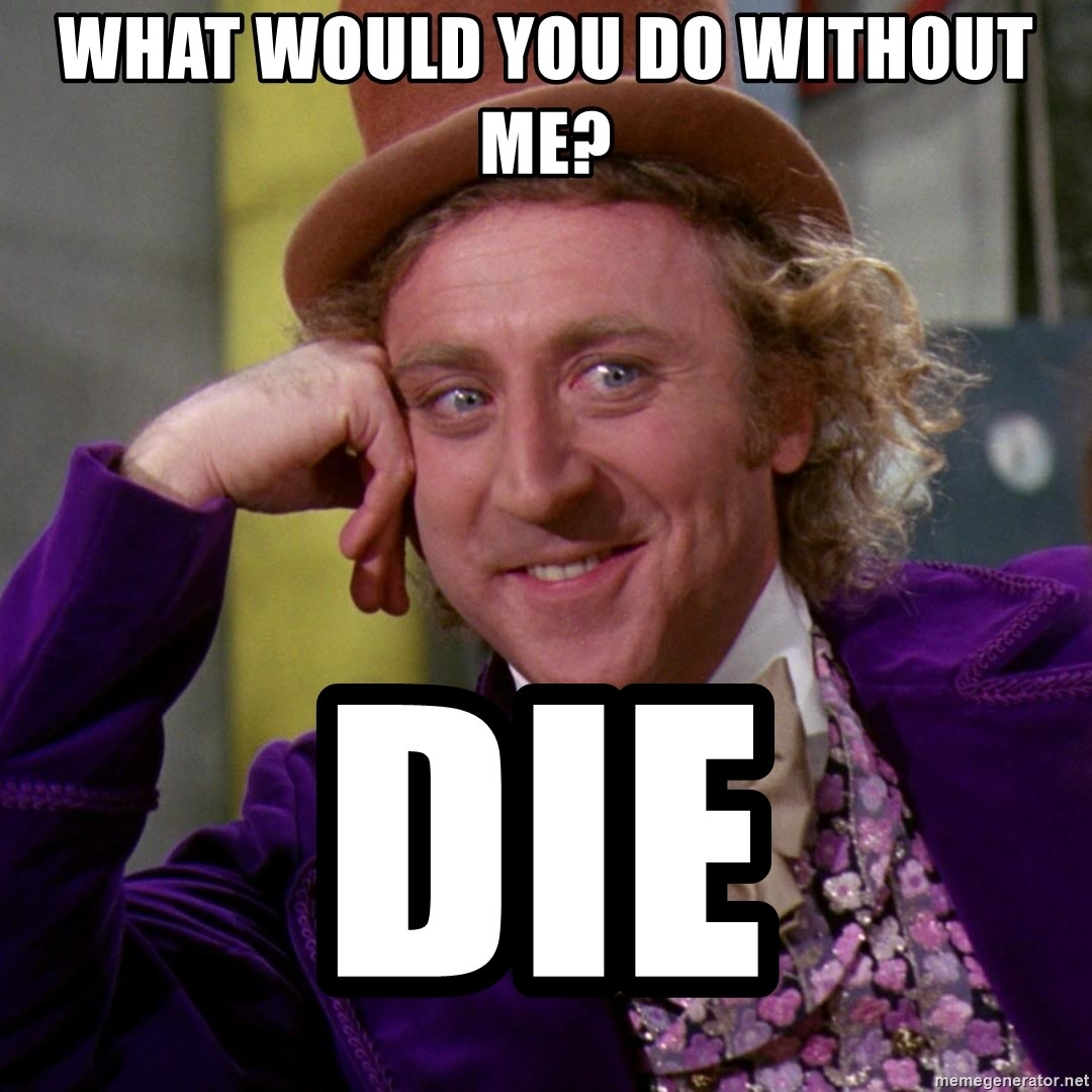 What Would You Do Without Me Die Willy Wonka Meme Generator