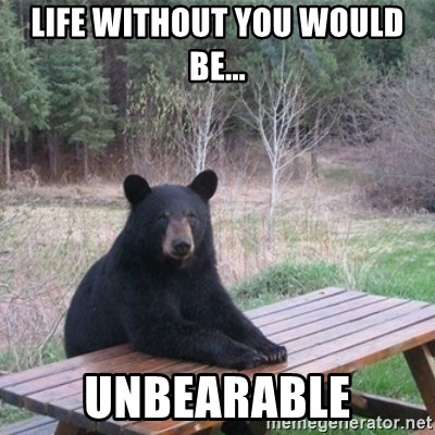 Life Without You Would Be Unbearable Patient Bear Meme
