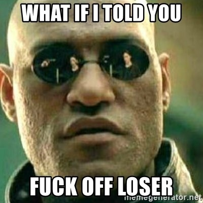 What If I Told You Fuck Off Loser What If I Told You Meme