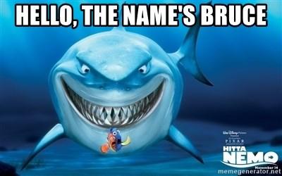 Hello, the name's Bruce - Finding Nemo Bruce   Meme Generator