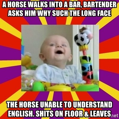 A Horse Walks Into A Bar Bartender Asks Him Why Such The Long