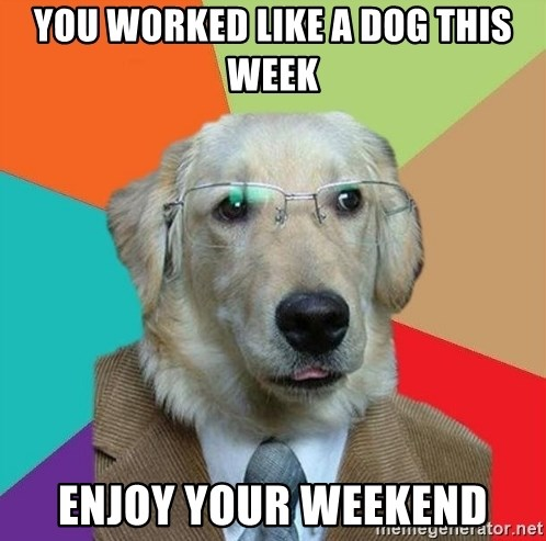 You Worked Like A Dog This Week Enjoy Your Weekend Business Dog
