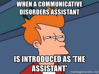 """A meme showing the reaction when communicative disorders assistant is introduced as """"the assistant""""."""