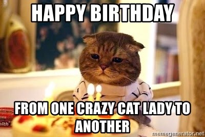 Happy Birthday From One Crazy Cat Lady To Another Birthday Cat Meme Generator