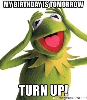 My Birthday Is Tomorrow Turn Up Kermit Meme Meme Generator