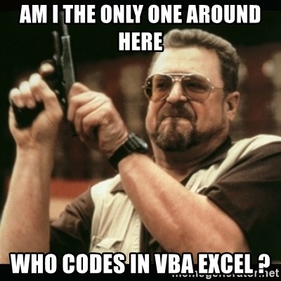 Am I The Only One Around Here Who Codes In Vba Excel Am I The