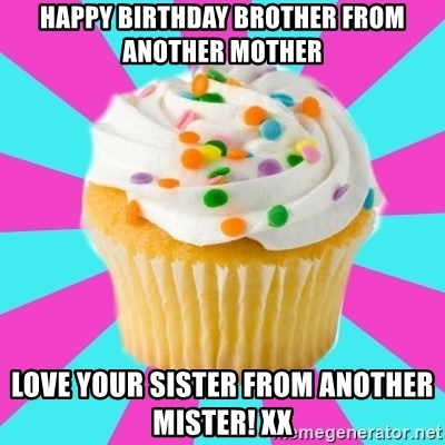 Happy Birthday Brother From Another Mother Love Your Sister From Another Mister Xx Have A Fucking Cupcake Meme Generator