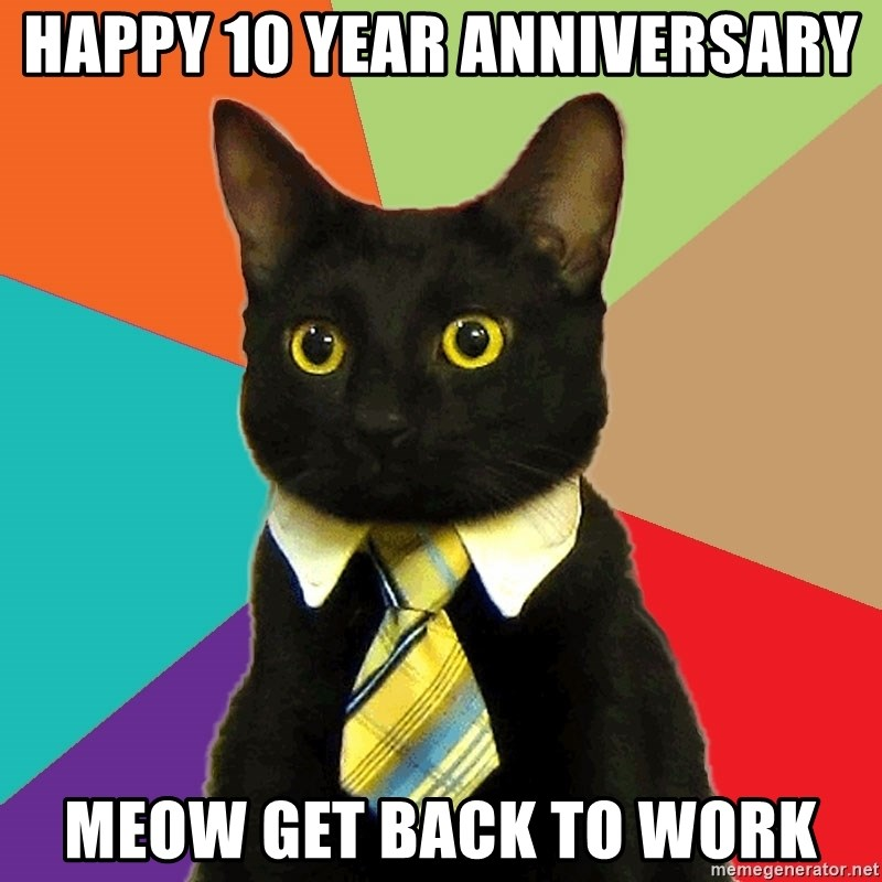 Happy 10 Year Anniversary Meow Get Back To Work Business Cat