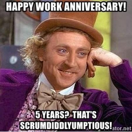 happy 5 year work anniversary meme