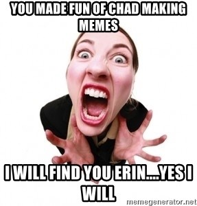 You Made Fun Of Chad Making Memes I Will Find You Erin Yes I