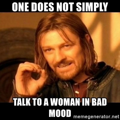 One Does Not Simply Talk To A Woman In Bad Mood Does Not Simply