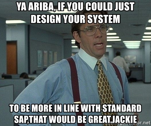 Ya Ariba If You Could Just Design Your System To Be More In Line