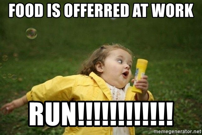 Food Is Offerred At Work Run Little Girl Running