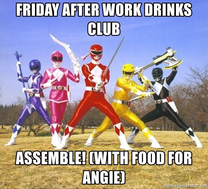 Friday After Work Drinks Club Assemble With Food For Angie