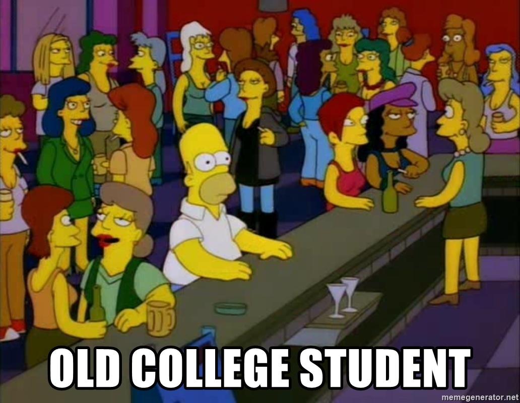 Old College Student Homer Bars Meme Generator