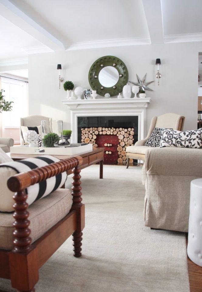 Livingroom Black White Clean Fireplace Mantel Decor Decorating