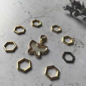 anneaux papillon doré