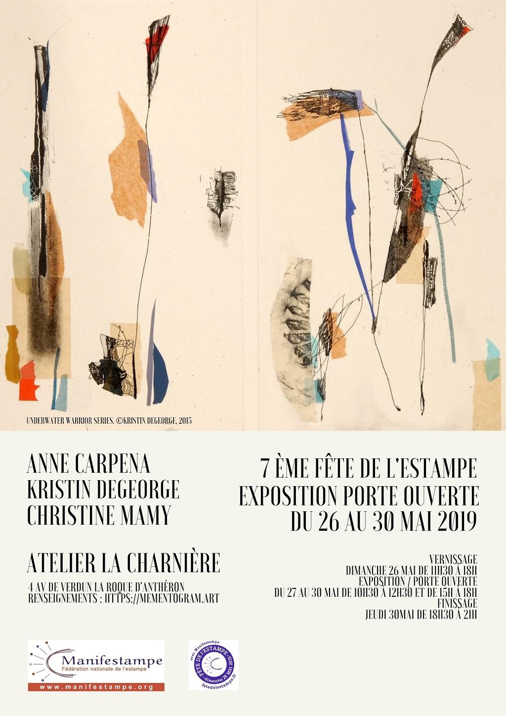 Affiche de la fête de l'Estampe du 26 mai 2019 à l'atelier la Charniere à la roque d'Anthéron