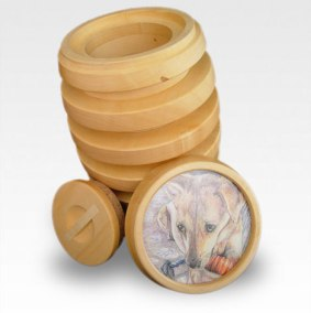 dog urn and portrait inspired by chew toy