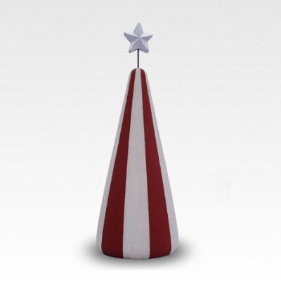 Red and white striped infant urn with silver star