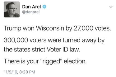 wisconsin voter ID laws rig election 300,000 votes