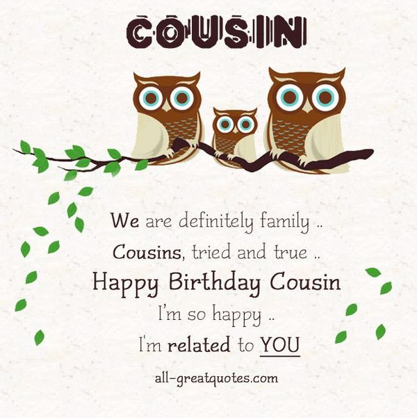 Happy Birthday Cousin Quotes, Wishes and Images (600 x 601 Pixel)