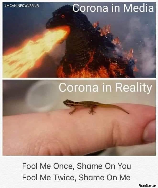 Corona In Media Corona In Reality Fool Me Once Shame On You Fool