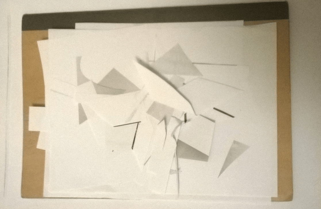An angular, layered construction of white paper