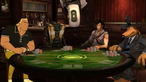 characters from a number of different game IPs sit around a poker table