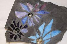 blue flower garden mosaic
