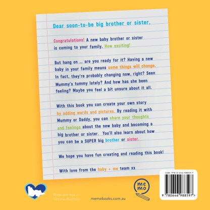 Picture of the back cover of the baby + me book for big brothers and big sisters.