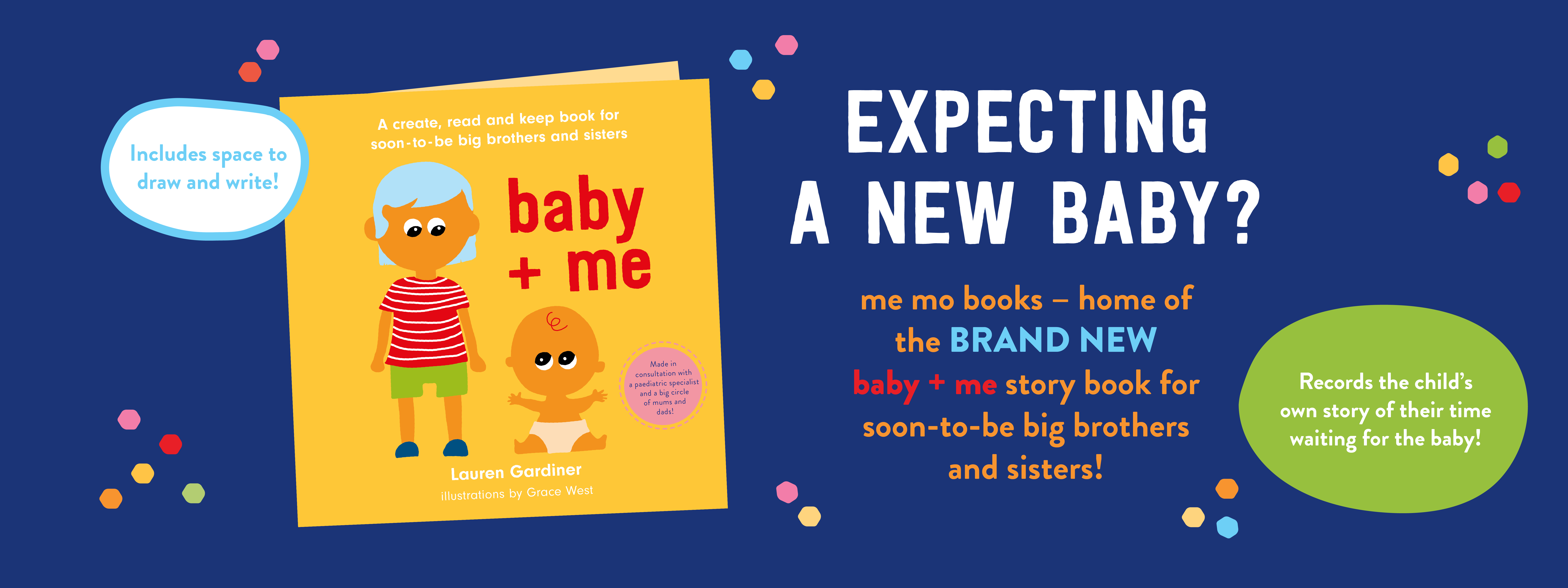 Expecting a new baby with older siblings in tow? The baby + me book can help big brothers and sisters.