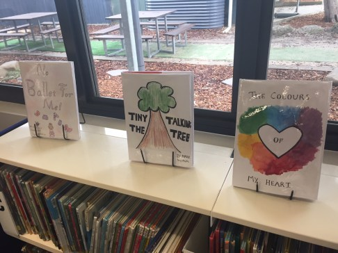 Picture of books made by children.