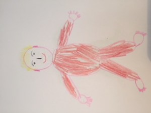 This is a hand drawn picture of a baby with a red jumpsuit that includes some detail