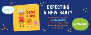 Website banner for the me mo books website. Banner includes a picture of the baby + me book for soon to be big brothers and sisters. Includes by now button