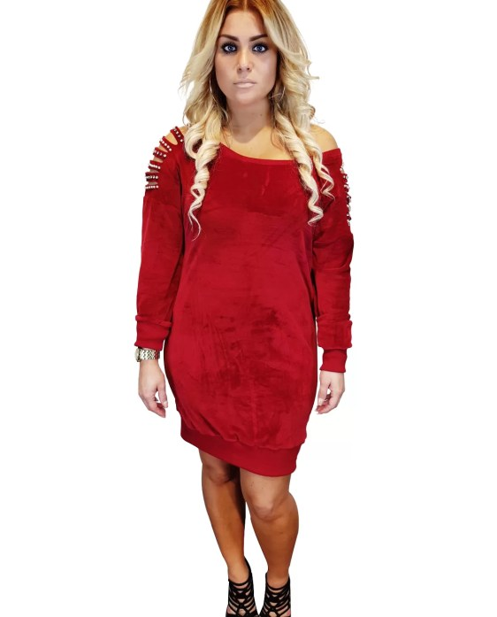 Dames Jurken Online Shop - Rode Jurk Met Stenen En Parels