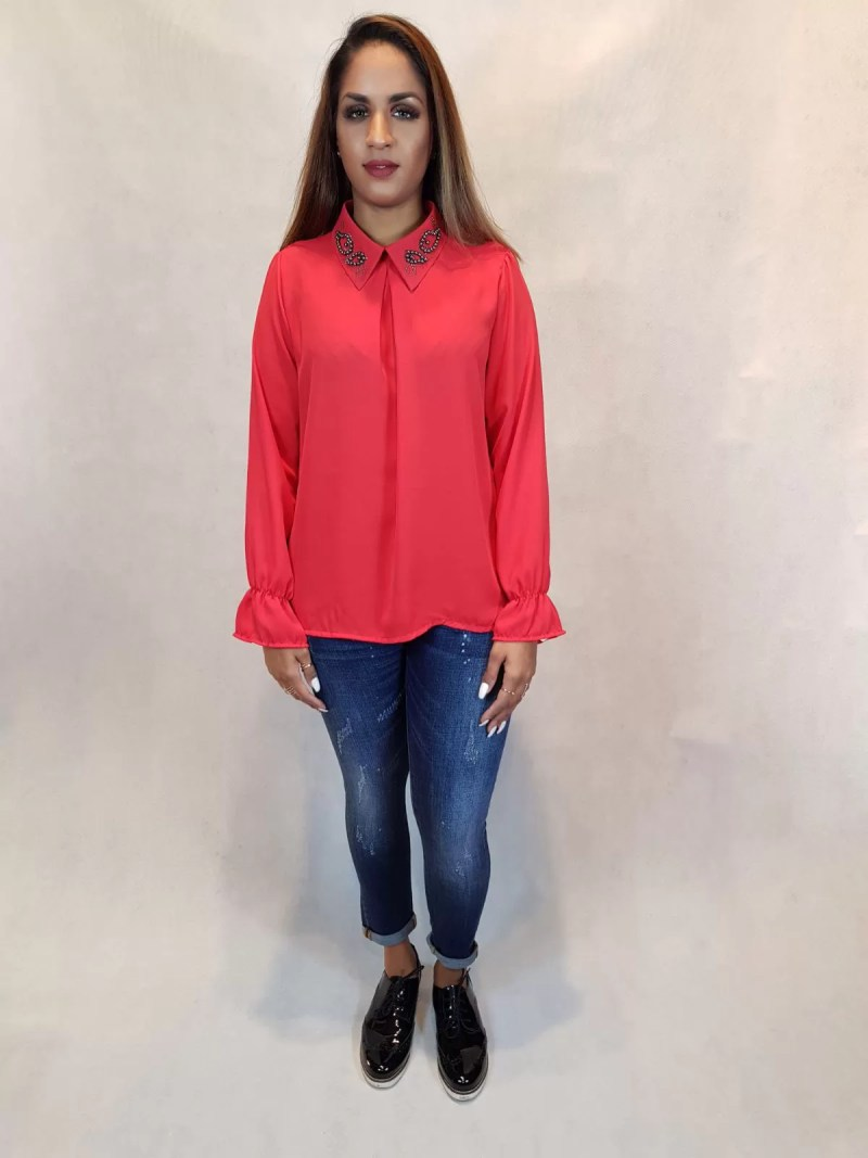 rode blouse dames - zwart blouse - blauw bouse
