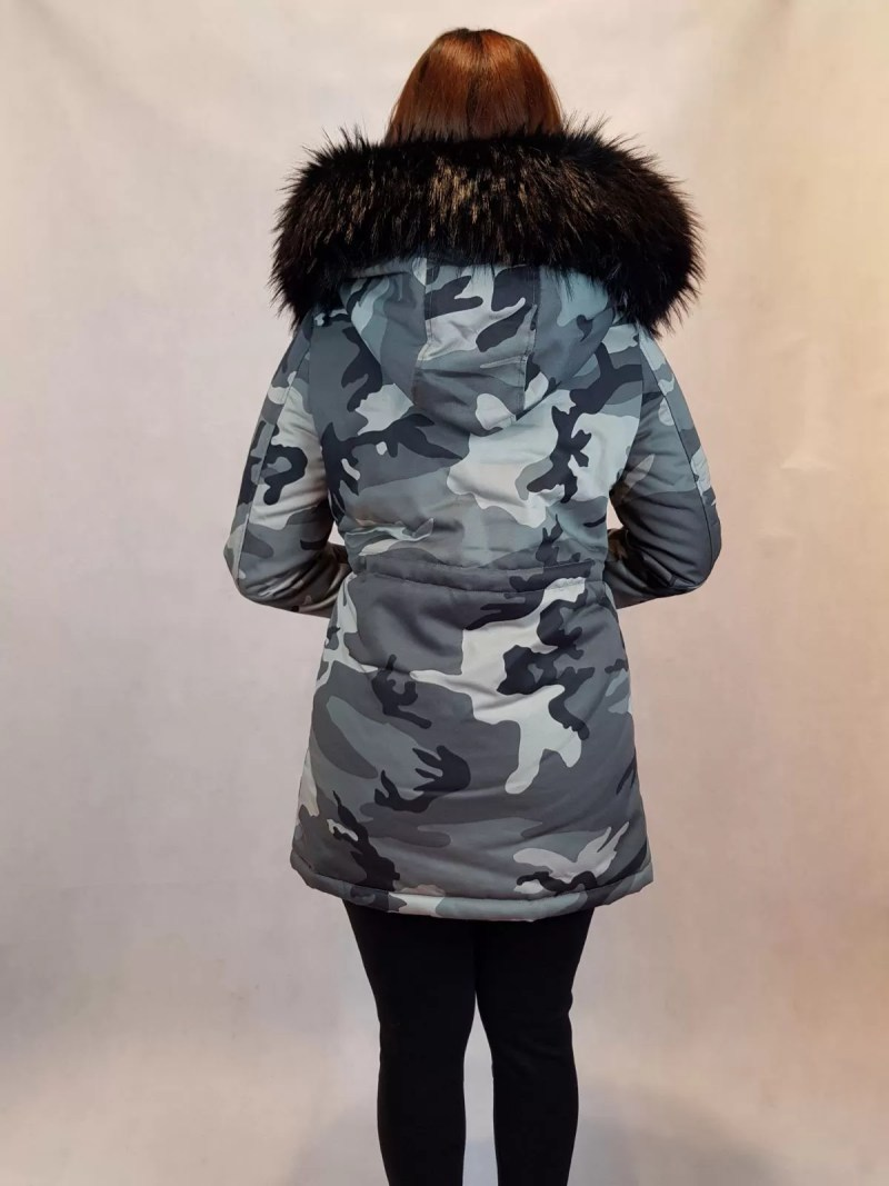 leger jas met bont - dames jassen - dames winterjassen - winterjas - winterjassen - dames jas - leger jas met zwart bont