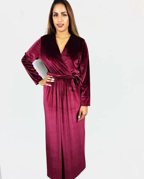 dames jurken - velvet jurk - lange jurk dames