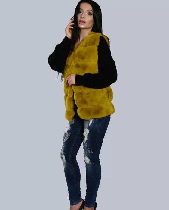 korte-fur-bodywarmer-geel