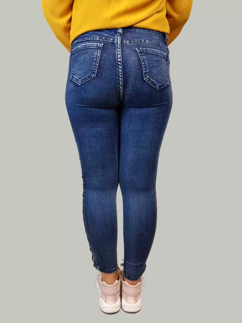 103 Spijkerbroek Dames - Spijker Broek Met Zwarte Veters
