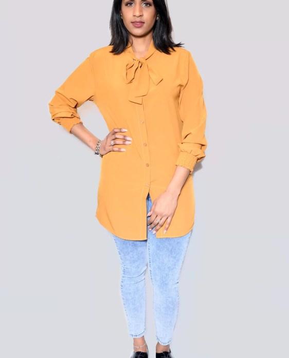 okergeel lange blouse voor dames