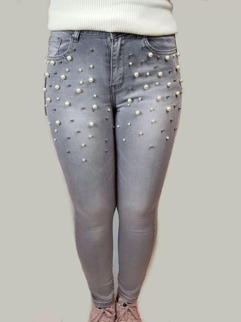 dames grijs broek met parel