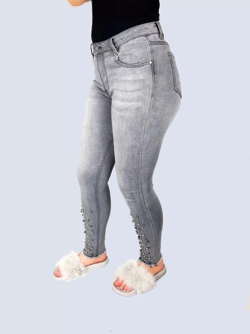 grijs strech broek dames