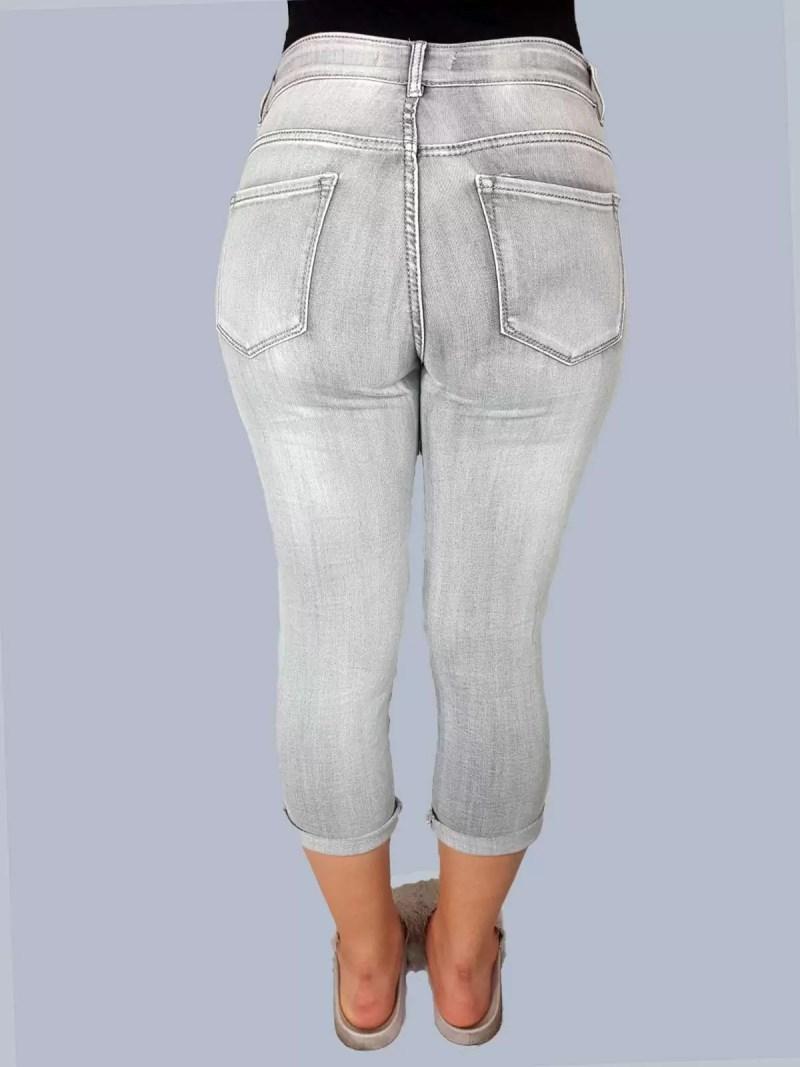 3 kwart grijs broek dames achterkant