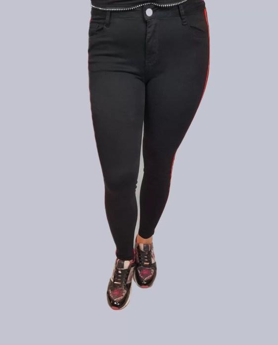 Zwarte Strech Broek Met Rode Streep