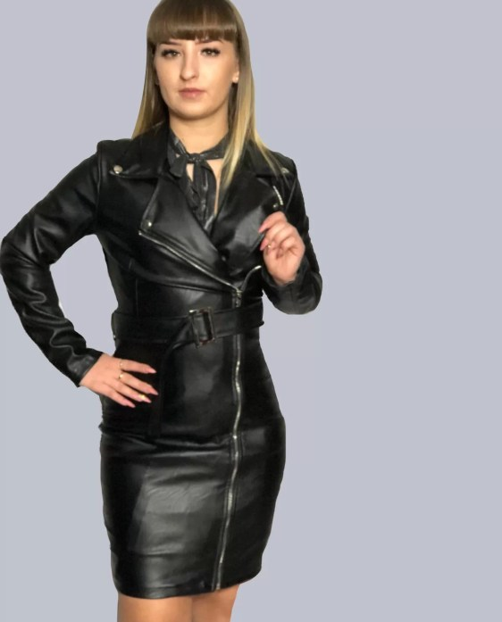 zwarte leren jurk dames