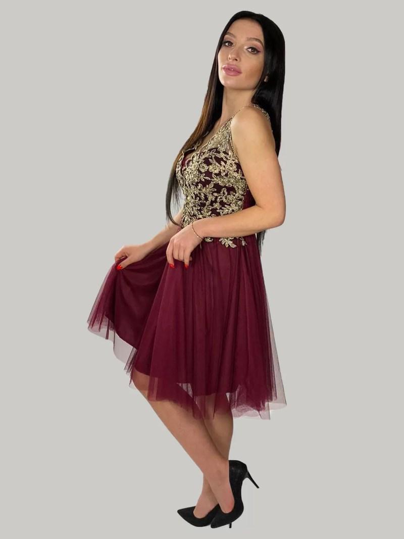 rood-goud-kanten jurk