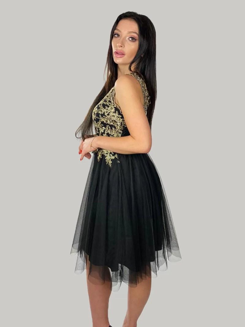 zwart-goud-korte-kanten-jurk