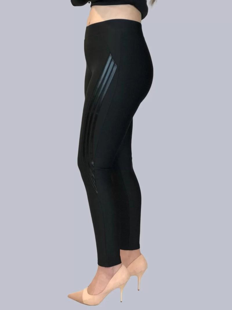 Zwarte Stretch Legging Broek met strepen dames Zwarte Stretch Legging Broek Met Strepen